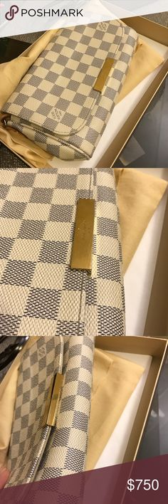 SOLD: LV favorite PM in Damier azur Took as many honest pictures as I can =) thanks for looking! Authentic and will come with proof of purchase, dust bag, tissue, and box! WARNING: if purchased after 5PM EST today (march 31), I cannot ship until Monday (printer access). Thanks! Louis Vuitton Bags