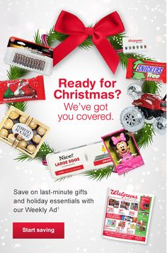 Still Shopping? Head Over to Walgreens for all Those Last Minute Gifts  Available at Walgreens stores and www.Walgreens.com while supplies last. Weekly Ad and coupon prices good 12/20/15 through 12/26/15 except when otherwise noted. Not all products and prices available in all stores in the following markets: U.S. Virgin Islands, Puerto Rico, Hawaii, Alaska, San Francisco and New York Boroughs: Manhattan, Brooklyn, Bronx, Queens and Staten Island. Void where prohibited by…