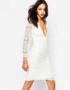 Image 1 of Boohoo White Lace Plunge Neck Midi Dress
