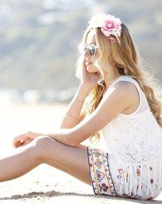 Rosalie Knit Top + Bambi Skirt + Boho Espadrilles + Gold Bangle set   Pavement United Brands #tassle #fringe #embroidery #denimskirt #floralheadband #spring #sunglasses #summer #spring #festival #teen #girls #fashion #gumclothing