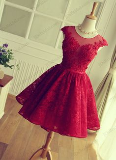 Red color sweetheart keyhole back short lace prom party gown