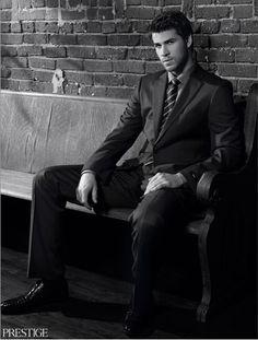 Liam Hemsworth for Prestige in Boss Black and Mezlan