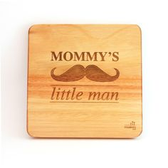 """Mommy's little man"". A lovely addition to a little boy's room. Everybody loves a moustache! Wooden Wall Art, Wooden Walls, Little Man Party, Wall Art Designs, Kid Spaces, Nursery Art, Bamboo Cutting Board, Laser Engraving, Art Pieces"