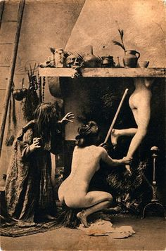 Departure of the Witches, French postcard circa 1910.