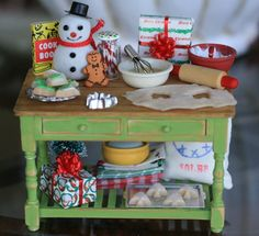 Dollhouse Miniature Christmas Holiday Baking Prep Kitchen Table Your Choice