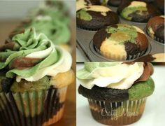 The Crafty Mama's Camouflage Cupcakes Military parties are quite popular and these camo cupcakes (with camo frosting!) would be the hit of the party! Camouflage Cupcakes, Camo Cupcakes, Birthday Cupcakes, Military Cupcakes, Chocolate Cupcakes, Wedding Cupcakes, Hunting Cupcakes, Colored Cupcakes, Army Cake