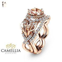 Calla Lily Design Morganite Ring Set Unique Wedding Ring Set 14K Rose Gold Floral Bridal Rings - Wedding and engagement rings (*Amazon Partner-Link)