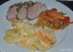 Nøttepanert indrefilet av svin med fløytegratinerte poteter og sauterte grønnsaker