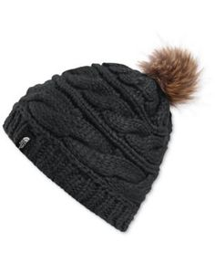 The North Face Faux-Fur Pom-Pom Beanie - Black