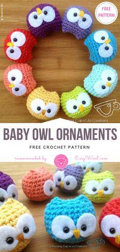 Baby Owl Ornaments Free Crochet Pattern on easywool.com #freecrochetPatterns #amigurumiowl #freepattern #crochetfreepatternforbaby #crochetbabyblanket #crochetstitch #crochettoy #owl #keychain #ornament #babyowl