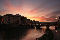 Sunset at Ponte Vecchio (old bridge), Florence (Firenze), Tuscany, Italy