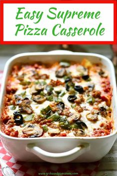 Easy Supreme Pizza Casserole If you are looking for easy dinner ideas for your family, you are in the right place! My Easy Supreme Pizza Casserole is a kid-friendly meal that your kids will love, and you will too! Pizza Casserole, Casserole Dishes, Casserole Recipes, Potato Casserole, Pizza Pasta Bake, Macaroni Casserole, Pasta Food, Pasta Dishes, Pizza Recipes