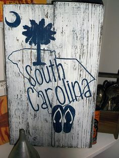 South Carolina Wooden Sign Hand Painted Wooden by TheWordJunkie Reclaimed Wood Signs, Rustic Wood Signs, Wooden Signs, Wooden Door Hangers, Wooden Doors, Palmetto Tree, Charleston South Carolina, Hand Painted Signs, Pallet Signs