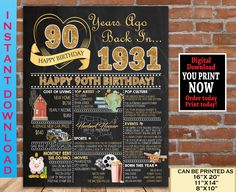 90th Birthday Chalkboard, 1931 GOLD Birthday Poster Sign, 90th Birthday Decoration Gift for her or him - Back in Year 1931 Printable File 70th Birthday Parties, Adult Birthday Party, Gold Birthday, Birthday Signs, 85th Birthday, Birthday Photos, Birthday Ideas, Birthday Party Decorations For Adults, Living Tv