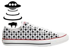 ac66a88dd08b SUMMER SALE PRICE - ufo alien grey flying saucer x-files pattern illustrated  custom converse low top shoes