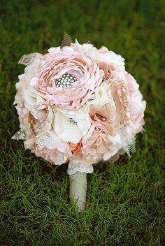 Custom Full Fabric Bridal Wedding Bouquet.