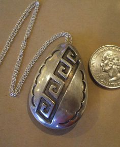 "Signed Vintage NAVAJO Sterling Silver Overlay Pin/Pendant with 16"" Chain DAN JACKSON 