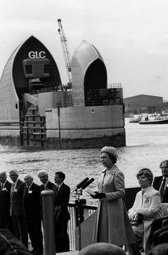 The Opening of the Thames Flood Barrier in Woolwich South East London England by the Queen on Tuesday 8th May 1984