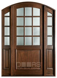 French Mahogany Solid Wood Front Entry Door - Single with 2 Sidelites - Custom Exterior Doors, Wood Exterior Door, Interior Barn Doors, Wood Entry Doors, Arched Doors, Rustic Doors, Knotty Alder Doors, Illinois, Front Entry