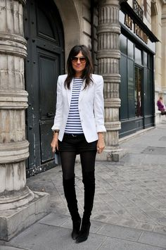 Emmanuelle Alt. Love this idea! Shorts,and tights,and leg warmers!!! eeek
