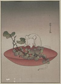 Mouse and Grapes. Yeishi, Japanese, active early 20th century