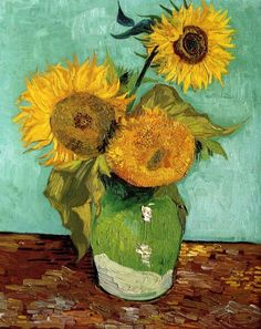 Three Sunflowers in Vase, Vincent van Gogh