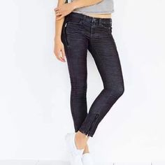"""Blank NYC Zipper Cords in Dark Gray size 25 Blank NYC Zipper Cords in dark gray from Urban Outfitters. Black zippers on front pockets and ankles. Inseam is 28"""", so can either be ankle pants or long pants on a short person. Size 25 Urban Outfitters Pants"""
