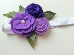Felt flower headband - Ombre purple flower headband - alligator clip