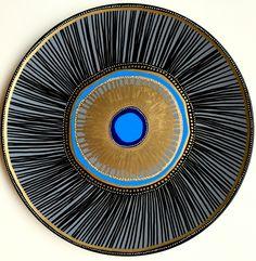 Blue Evil Eye Decor - Coral Wall Art - Golden Spiral Decor - Golden Sun Art - Decorative Plate - Wall Hanging Art - Black and Golden by biancafreitas on Etsy