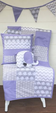 Patchwork cot quilt in Purple and Grey Elephants with Cushion