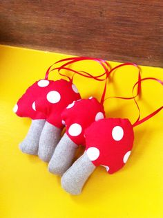 Hanging toadstools, can be used as bunting in kids rooms, or on Christmas trees for a unique look.