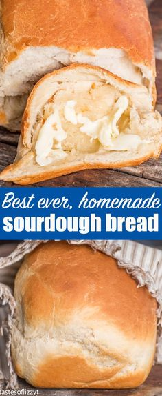 The best homemade bread! Soft, chewy sourdough bread with a beautiful golden brown crust. This easy homemade bread recipe makes two loaves and is the perfect white sandwich bread. #sourdough #breadrecipe #homemadebread #whitebread via @tastesoflizzyt