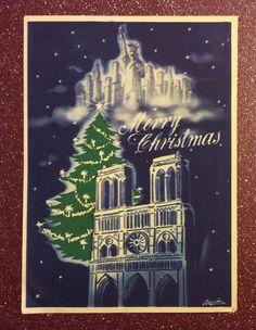 Vintage Christmas card - 1945, Statue Of Liberty, NYC skyline