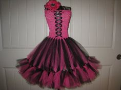 Lizzy's birthday dress ♥ Monster High Draculaura inspired Petti Tutu dress by MonkeyTutus, $33.00