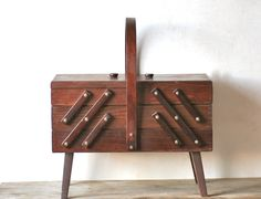 Fold Out Accordion Wooden Sewing Box Handle Divided by ivorybird ...