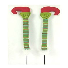 "Pair of Green Striped Elf Legs Size: 24"" Color: Green, Red  On order, ETA Summer 2015"