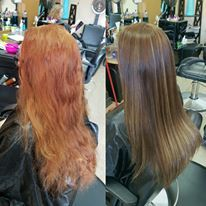 Box dye gone wrong to beautiful natural brown with golden highlights used olaplex to keep the hair in great condition
