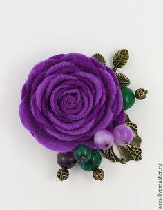 """Купить Брошь """"Сиреневый сад"""" - брошь в форме цветка из фетра - брошь, брошь цветы"""