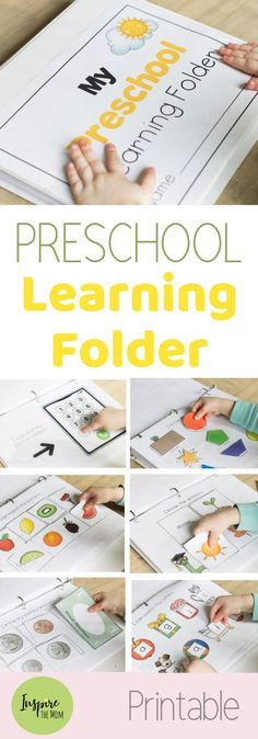 Updated Preschool Learning Folder - Inspire the Mom - Great for all preschoolers! This interactive, preschool learning folder teaches colors, alphabet, n - Kindergarten Prep, Preschool At Home, Preschool Kindergarten, Toddler Preschool, Preschool Crafts, Rhyming Preschool, Preschool Binder, Preschool Rooms, Baby Crafts