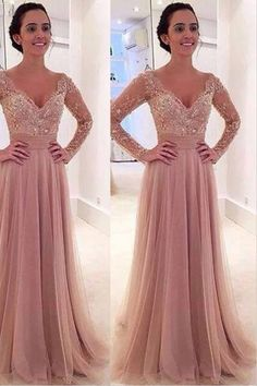 Longkk Sleeves V-neck Tulle Prom Dress with Detachable Train -Pgmdress