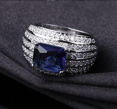 Sheena Blue Stone Princess Cut Engagement Ring