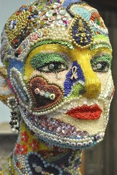 Beaded mannequin tells story of battling cancer Vintage Jewelry Crafts, Jewelry Art, Mosaic Projects, Art Projects, Mannequin Art, Mannequin Torso, Styrofoam Head, 3d Figures, Art Vintage