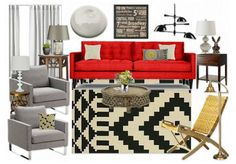 """this mood board created on olioboard.com: """"aztec rug with red"""" - living room by urbansouthuna - I created this board as inspiration for our future living room but I've decided that I would prefer different chairs."""