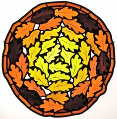 Oak leaves in stained glass. Mouth blown and machine made glass, glass paint, leaded. Oak Leaves, Stained Glass Projects, Tree Designs, Panel Doors, Berries, Glass Paint, Blown Glass, Acorn, Mtb