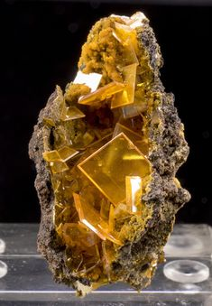 WULFENITA y MIMETITA Cristales de wulfenita amarillo dorado vibrante que crecen con mimetita.