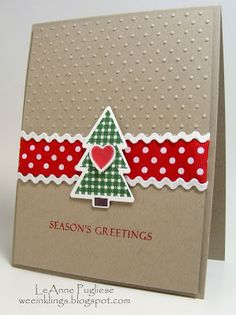 Always Playing with Paper: Merry Monday Christmas Card Club # 73 {Red, Green and Kraft on your card with a choice of Ribbon, Twine or Burlap!}