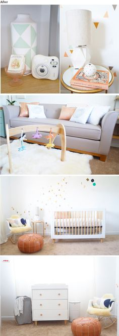 How to turn your spare bedroom into a beautiful, bright, gender neutral nursery with all natural and organic products--can't believe what it looked like before!