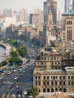 View of the Bund District Along Huangpu River, Shanghai, China