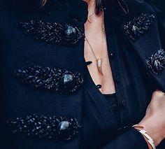 Blogger @vivaluxuryblog rocking our Horn Necklace and ⚡️ bracelet ✨ available on Nialaya.com #nialaya #womensjewelry #spiritualjewelry
