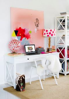 ChicDecó: | Styling a workspace \ pink abstract canvas print artwork | white desk | feminine home office | white desk